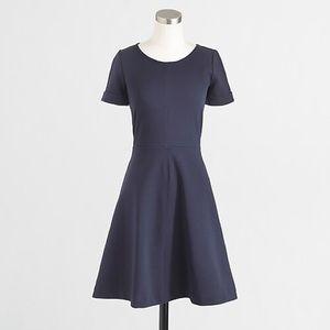 J. Crew Ponte Flare Dress in navy blue